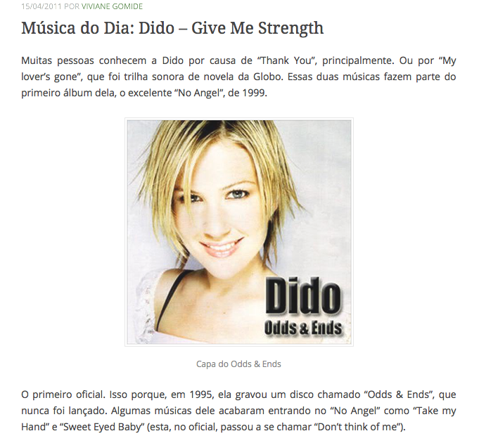 1 Música do Dia Dido – Give Me Strength