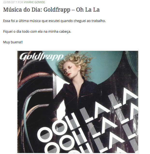 3Música do Dia Goldfrapp – Oh La La