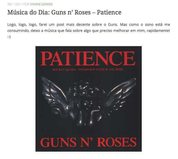 6 Música do Dia Guns n Roses  Patience